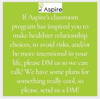 Send us your stories! We'd love to hear how Aspire has impacted you!