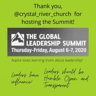 Aspire's team spent the past two days attending the Global Leadership Summit 2020. We are so thankful to @crystal_river_church for hosting the event. So many great takeaways!